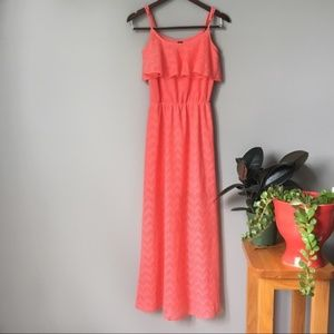 HeartSoul Bohemian Coral Lace Maxi Dress 0546